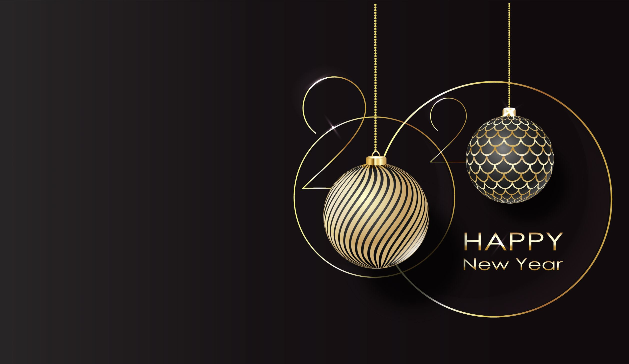 2020 Happy New Year with Black and Gold Ornaments