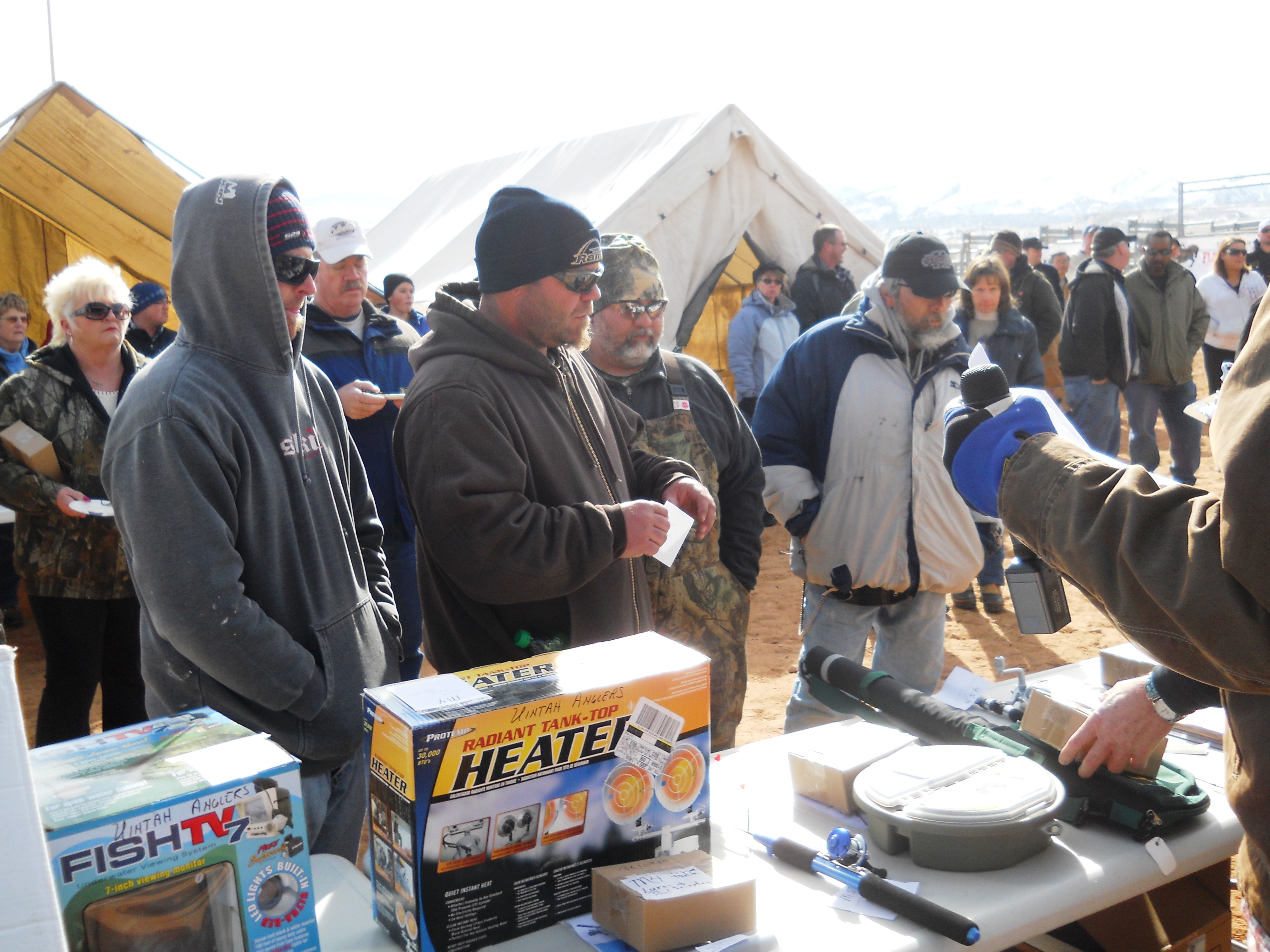 View of the crowd and prizes being handed out at the closing ceremonies of the 2012 Burbot Bash