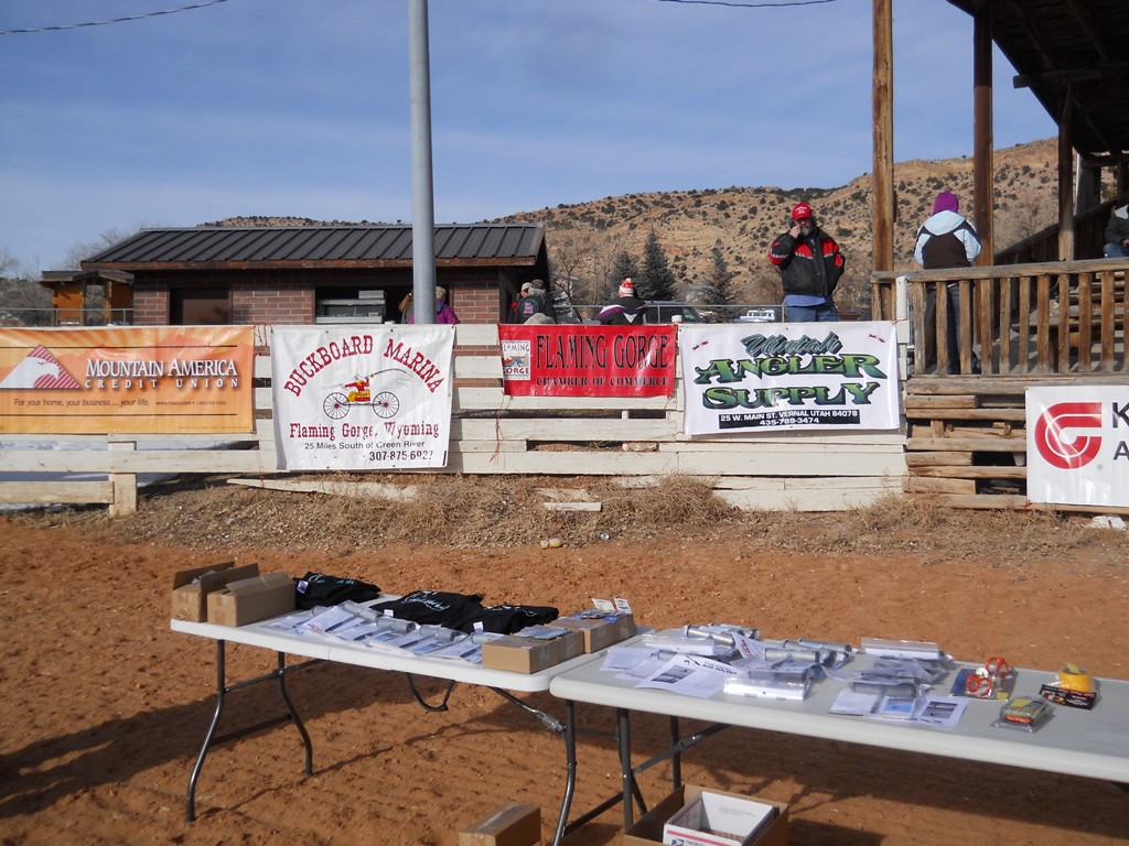 Photo of Sponsor Banners and Prize Tables at the 2012 Burbot Bash Closing Ceremonies