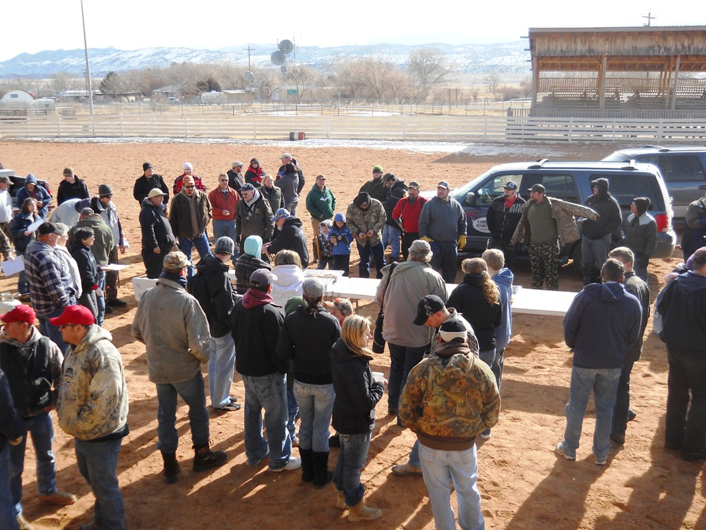 Photo of participants and spectators milling around waiting for the start of one of the heats of the Filet Contest during the 2012 Closing Ceremonies of the Burbot Bash