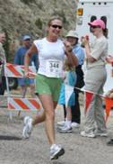 Lady runner nears finish line in 2006 Tower Rock Run