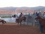 Saddle Bronc riding in Cow Country Rodeo at Manila, UT near Flaming Gorge