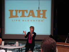 Photo of Vicki Varela, Managing Director of the Utah Office of Tourism speaking at the 2013 Flaming Gorge Tourism Conference