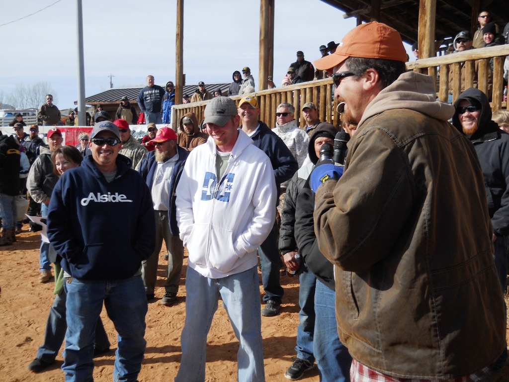 Photo of one of the prize winning teams waiting for their prizes at the 2012 Burbot Bash