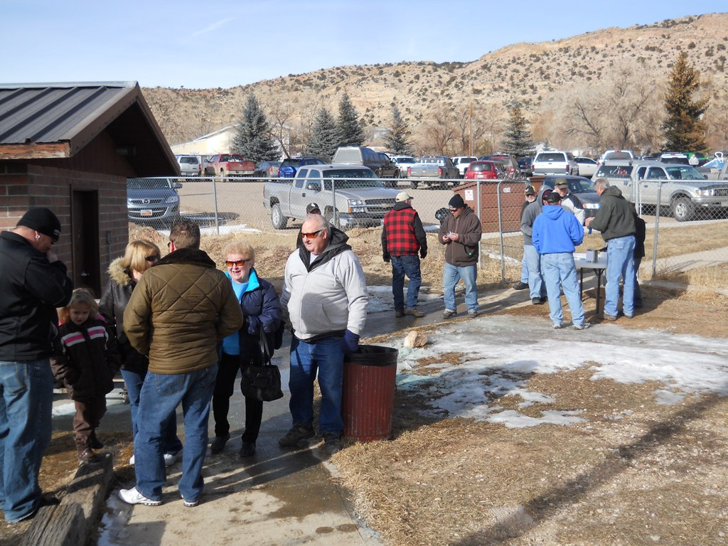 Crowd shot of people entering the rodeo grounds for the closing ceremonies of the 2012 Burbot Bash