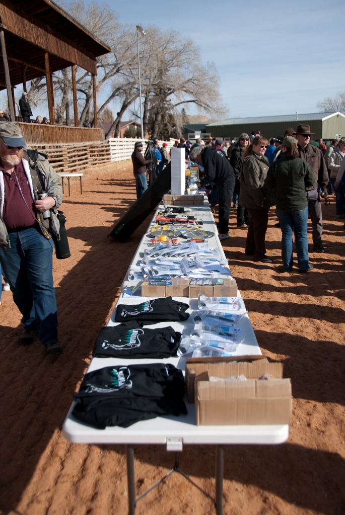 Photo of prize tables and crowd at the closing ceremonies of the 2012 Burbot Bash
