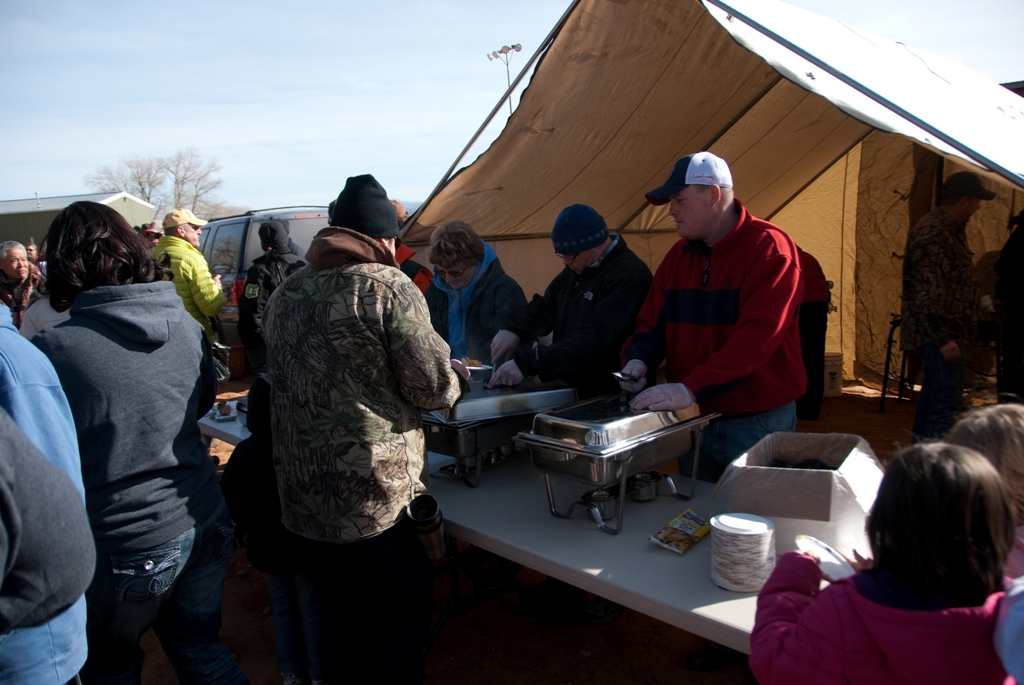 Crowd shot of the burbot sample serving tent during the closing ceremonies of the 2012 Burbot Bash