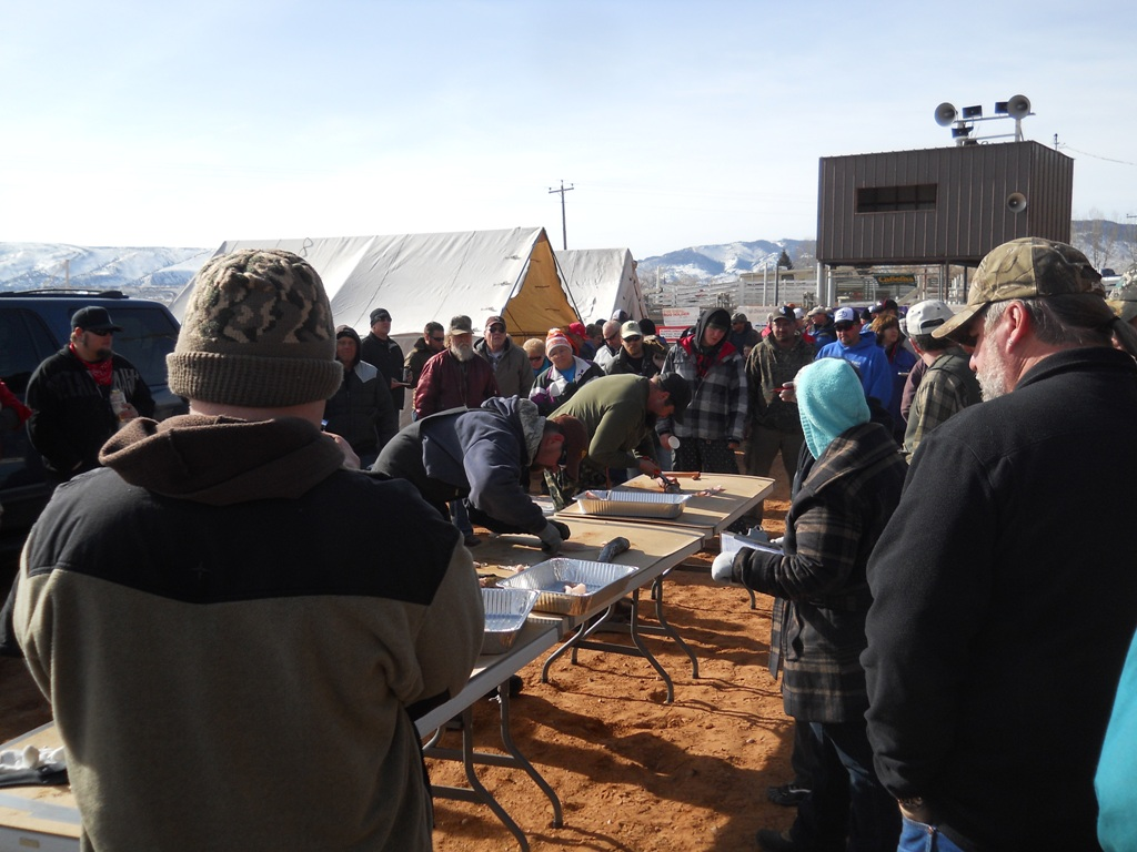 Participants in the process of filleting burbot during the Filet Contest at the closing ceremonies of the 2012 Burbot Bash